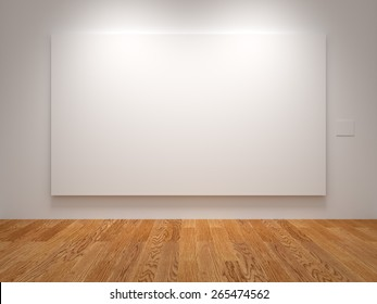 White Wide Blank Canvas In An Exhibition