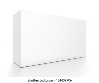 White wide horizontal rectangle blank box from front side angle. 3D illustration isolated on white background.