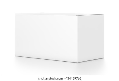 White wide horizontal rectangle blank box from side angle. 3D illustration isolated on white background.