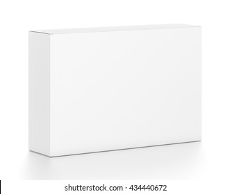 White wide horizontal rectangle blank box from top front side angle. 3D illustration isolated on white background.