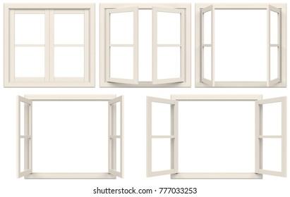 white window frame isolated on white background. 3D illustration.