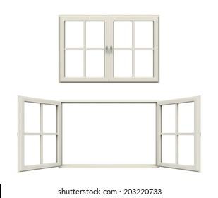 white window frames. 3D illustration.