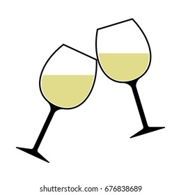 White Wine Glasses Clinking Illustration Isolated - Cheers!