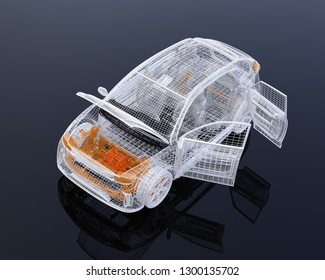White wire frame of electric SUV on black background. Left doors and hood opened. 3D rendering image.