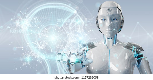 White woman cyborg on blurred background creating artificial intelligence 3D rendering