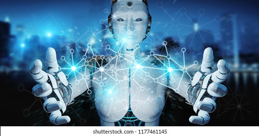 White woman cyborg on blurred background using digital network connection 3D rendering