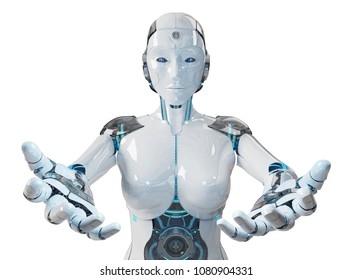 White woman cyborg opening her two hands isolated on white background 3D rendering