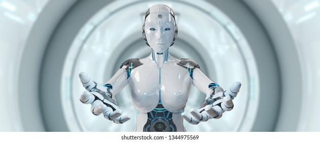 White woman cyborg opening her two hands on spaceship background 3D rendering