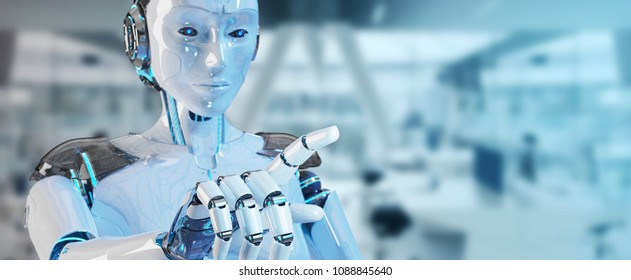 White woman cyborg pointing her finger on spaceship background 3D rendering