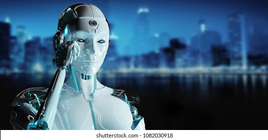 White woman cyborg thinking and touching her head isolated on blue city background 3D rendering