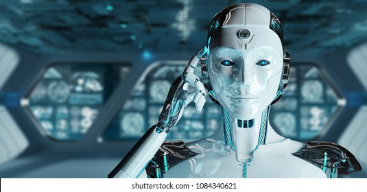 White woman cyborg thinking and touching her head on spaceship background 3D rendering
