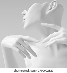 White woman profile sculpture and closeup hands on the face elegant gestures 3d rendering mannequin
