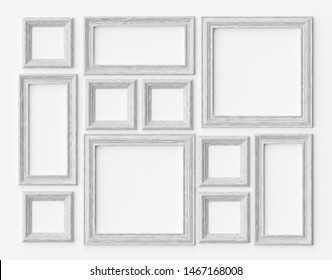 White wood blank photo or picture frames on white wall with shadows, decorative wooden picture frames template set, art frame mock-up 3D illustration