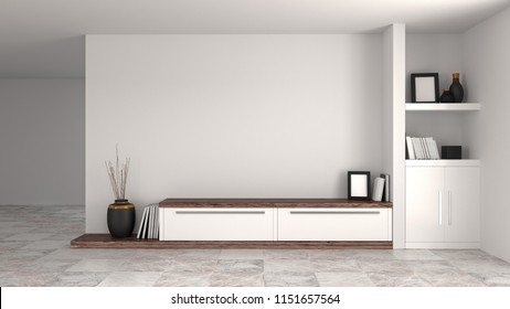 White wood modern cabinet in empty room interior background home designs 3d illustration ,shelves and books in front of wall empty wall objects home decoration