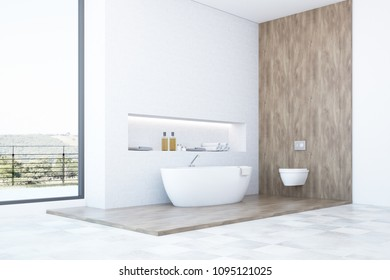 White and wooden bathroom corner with a white bathtub, a toilet and a built in shelf for self care products. 3d rendering mock up