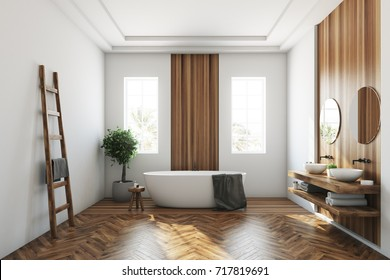 White and wooden bathroom interior with a wooden floor, a white tub, a tree in a pot, two narrow windows and a ladder. Close up 3d rendering mock up