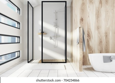 A white and wooden bathroom interior with a shower, a white tub and an originally shaped window. 3d rendering mock up