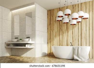 White and wooden bathroom interior with two sinks standing on a marble shelf with two narrow mirrors above them and a white tub. Side view. 3d rendering mock up