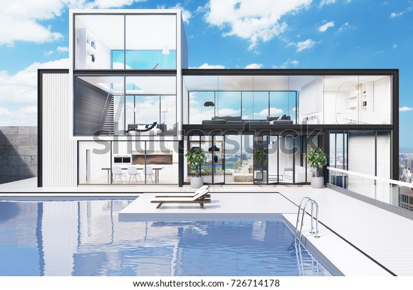 White Wooden Glass Wall Mansion Luxury Stock Illustration ...