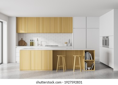 White and wooden kitchen room with kitchen set and cutting table on grey floor. Eating table with chairs, window, 3D rendering no people