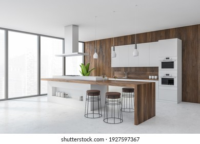 White and wooden kitchen set on white floor, wooden cutting table with spaces for bottles, side view. Kitchen room set with cutting table and bar chairs, 3D rendering, no people