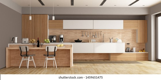 White and wooden modern kitchen with island - 3d rendering