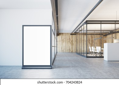 White and wooden office lobby with a glass wall, a concrete floor, and a large glowing banner in the corner. 3d rendering mock up
