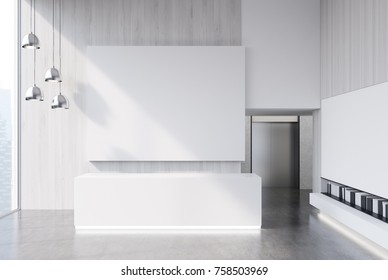 White wooden office lobby with a reception desk, a bookshelf and empty wall fragments for goods and services promotion and advertising. Close up 3d rendering mock up