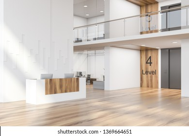 White and wooden reception desk with two large computers standing in modern business center with white walls and wooden floor. Small offices behind glass doors and elevator hall. 3d rendering