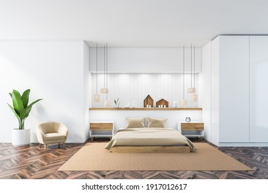 White and wooden sleeping room with bed with linens on carpet, parquet floor. Bedroom with decoration and plant, 3D rendering no people