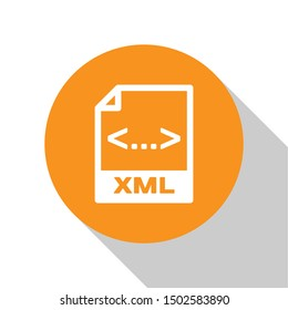 White XML file document icon. Download xml button icon isolated on white background. XML file symbol. Orange circle button