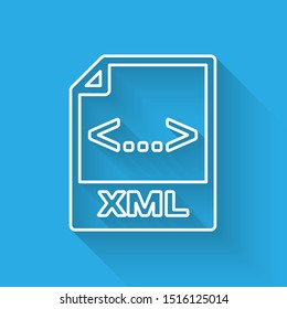 White XML file document icon. Download xml button line icon isolated with long shadow. XML file symbol