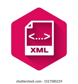 White XML file document icon. Download xml button icon isolated with long shadow. XML file symbol. Pink hexagon button