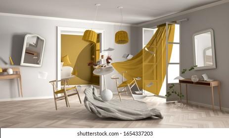 Weißes und gelbes Wohnzimmer, häusliches Chaos-Konzept mit Stühlen und Tisch, Fenster und Vorhänge, kaputte Vase, Möbel und anderes Zubehör, das in der Luft fliegt, Explosion, Windböe, 3D-Illustration