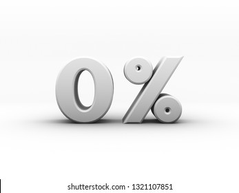 white zero percent or 0 % 3d illustration  special price offer.isolated on white backgroundwith shadow Ambient Occlusion Rendering.