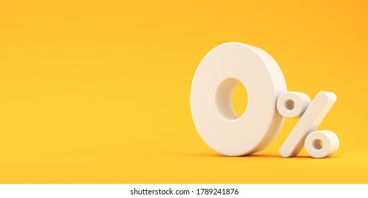 White zero percent on a yellow background. Illustration for advertising. 3d render.