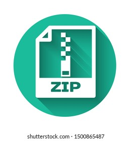 White ZIP file document icon. Download zip button icon isolated with long shadow. ZIP file symbol. Green circle button