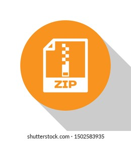 White ZIP file document icon. Download zip button icon isolated on white background. ZIP file symbol. Orange circle button