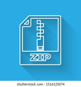 White ZIP file document icon. Download zip button line icon isolated with long shadow. ZIP file symbol