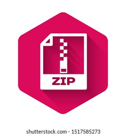 White ZIP file document icon. Download zip button icon isolated with long shadow. ZIP file symbol. Pink hexagon button