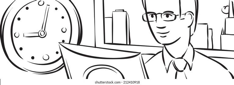 whiteboard drawing - businessman in office