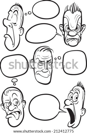 whiteboard drawing emotion faces speech balloons stock illustration