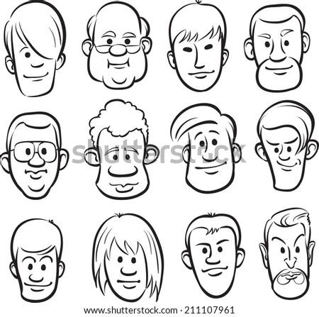 whiteboard drawing men faces cartoon heads stock illustration