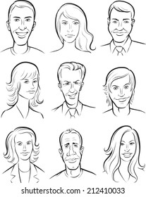 whiteboard drawing - men and women faces collection