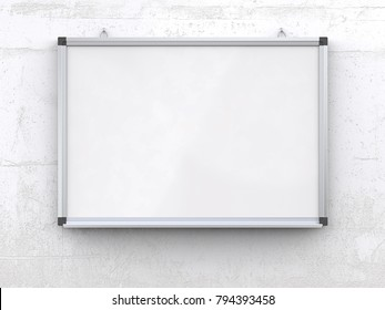 Whiteboard on concrete wall. Blank Whiteboard on rough white concrete wall. Scratched surface, blank for copy space. 3d render,