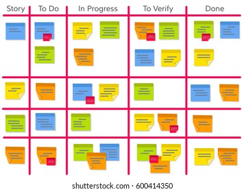 Whiteboard with post it notes for agile software development. Hanging scrum task kanban board with sticky notes with tasks for team work and visual management. Illustration in flat style.