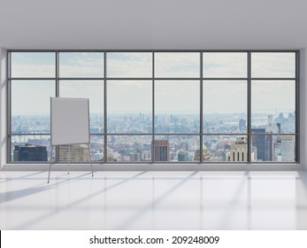 Whiteboard which symbolizes a professional presentation in a modern panoramic office.
