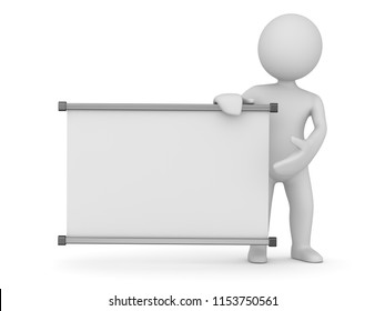 Whiteboard and white man , 3d render and computer generated image.