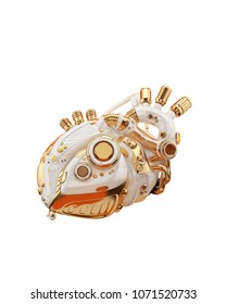 White-gold robotic heart, sci-fi replacement organ, 3d rendering