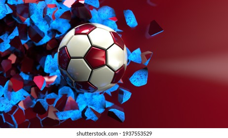 White-Red Soccer ball breaking with great force through blue illuminated wall under spot light background. 3D high quality rendering. 3D illustration. 3D CG.